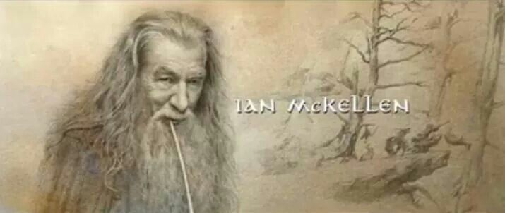 alan lees sketch of gandalf from the credits of botfa