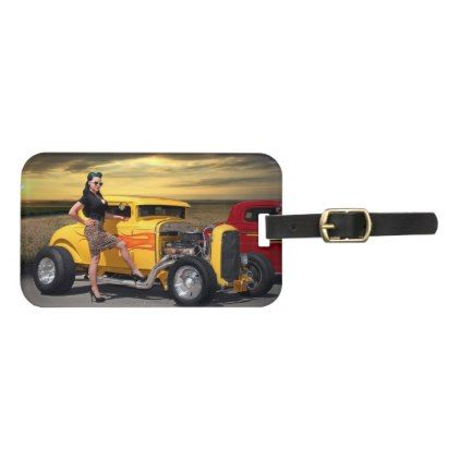 Sunset Graffiti Hot Rod Coupe Pin Up Car Girl Luggage Tag - girl gifts special unique diy gift idea