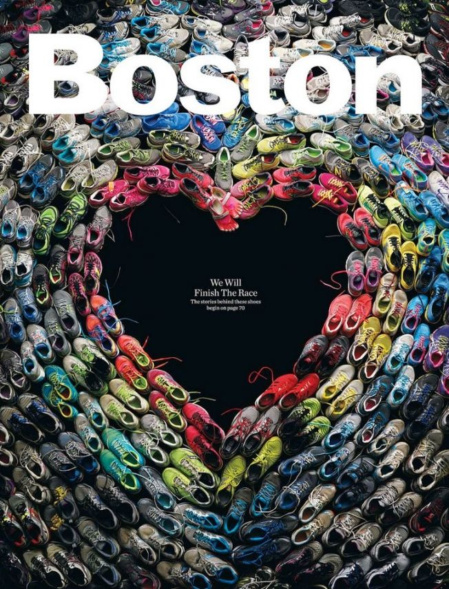 Incredible Cover of Boston Magazine Made of Shoes Worn in the Marathon | Adweek