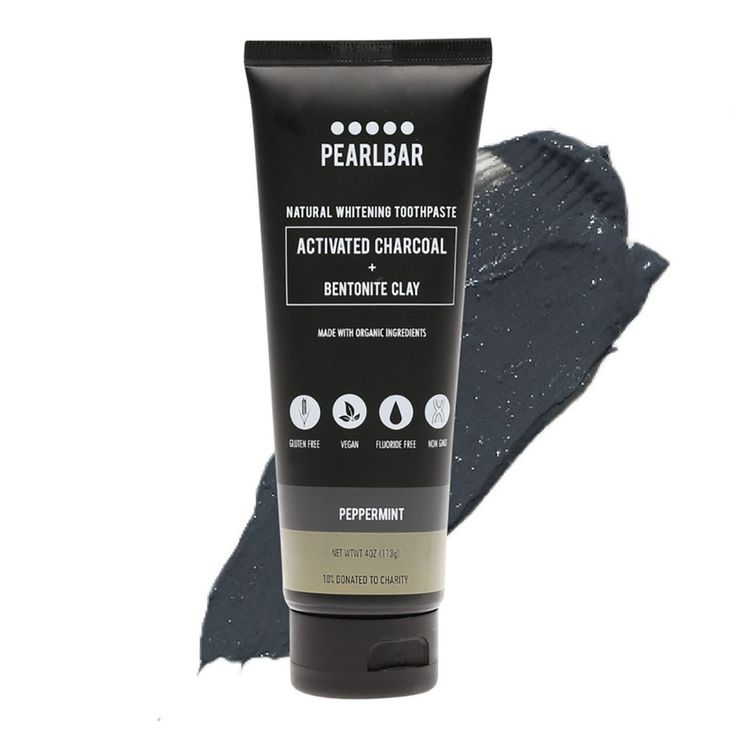 PearlBar's whitening toothpaste with activated charcoal and bentonite clay uses two of nature's natural ingredients, to help clean and whiten teeth. With a peppermint taste. At Official Stockist Flora & Fauna.
