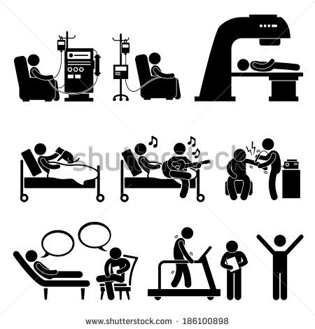 Hospital Medical Therapy Treatment Stick Figure Pictogram Icon Cliparts - stock vector