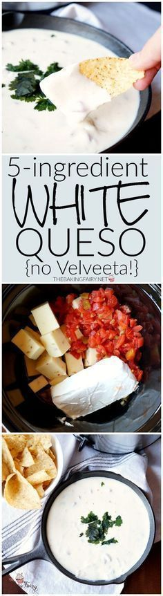 Homemade white queso! Our mouths are watering, this is the BEST queso recipe of all time. A must try. Plus it's so quick and easy to make. Via The Baking Fairy #horsdoeuvres #appetizers #fingerfoods #tapas #partyfood #christmaspartyfood #newyearsevepartyfood #newyearseve #tailgating #superbowl