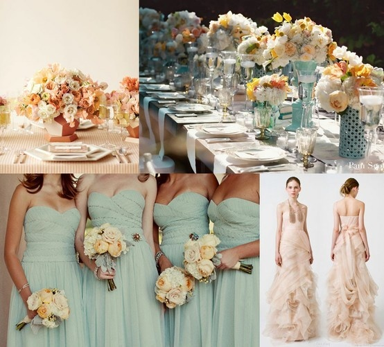 MINT& peach - BRIDESMAID DRESS AND TABLE