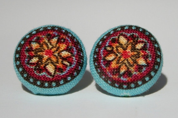 Covered Button Earrings  Limited Edition by PurpleBirdCrochet, $6.00