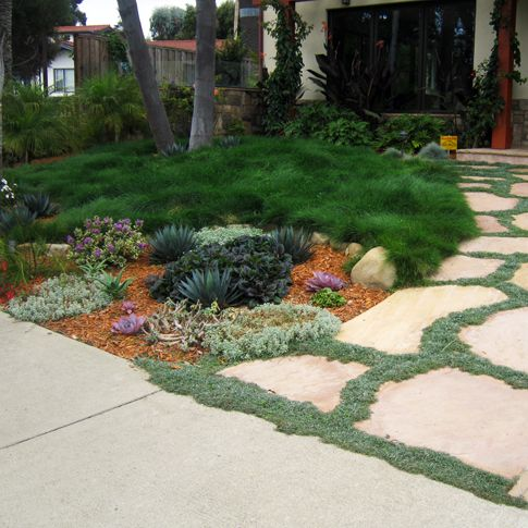 No turf front lawn a must curb appeal and landscape - Cheap no grass backyard ideas ...