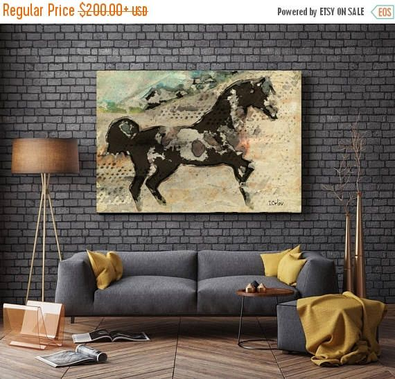 Wild Horse. Extra Large Horse, Unique Horse Wall Decor, Brown Rustic Horse, Large Contemporary Canvas Art Print up to 72 by Irena Orlovv  Wall Art Decor for Home, Office or Hotel  Farmhouse Rustic Horse Painting Print on Canvas – 8 Sizes Available  So striking, this is my Farmhouse Horse Painting – a canvas print of my original artwork. I also give you the option to have the print hand embellished, which is essentially painting over certain areas of the print with additional brush strokes…