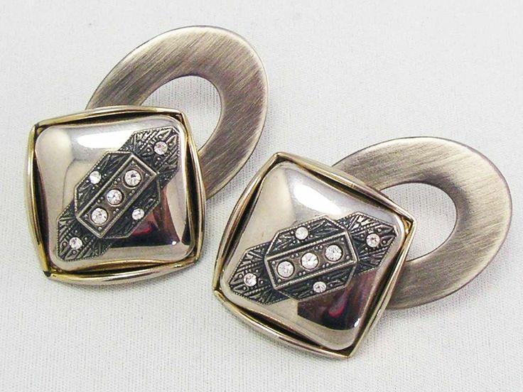 MASSIVE!!! MEGA GLAM Vintage Art Deco Revival Modernist Earrings ~Runway Fashion