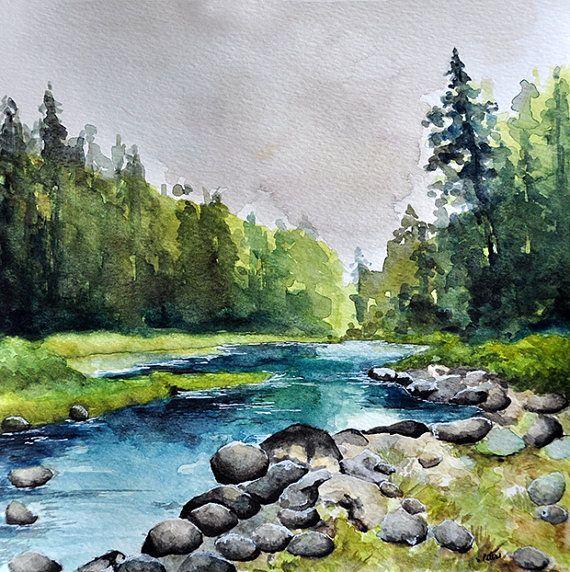 ORIGINAL Watercolor Painting 10x10 Inch River by ArtCornerShop