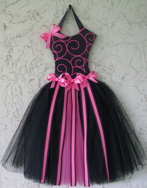 Hair Bow Holder Tutu Pink and Black Personalized by Mimisartistree, $32.00