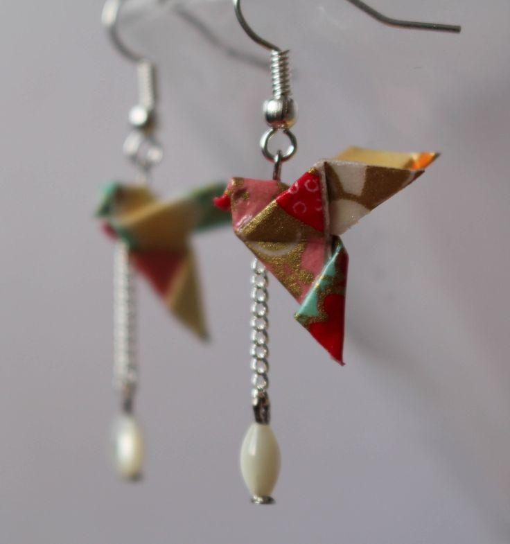 Boucles d'oreilles - Colombe- Origami- en papier japonais : Boucles d'oreille par paper-art