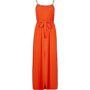 Rode maxi-jurk met knopen