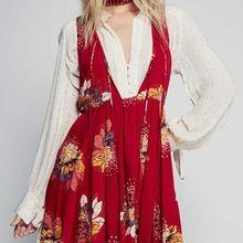 Boho inspirado mulheres bordado floral do vintage vestidos de verão soltas com decote em v sem mangas senhoras retro casual dress vestidos roupas(China (Mainland))