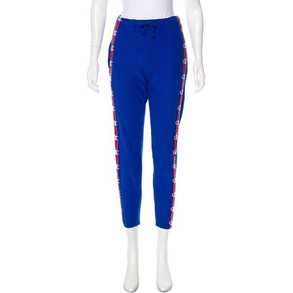 Pre-owned Vetements x Champion 2017 Mid-Rise Joggers ($595) ❤ liked on Polyvore featuring activewear, activewear pants, blue, champion activewear, logo sportswear and champion sportswear