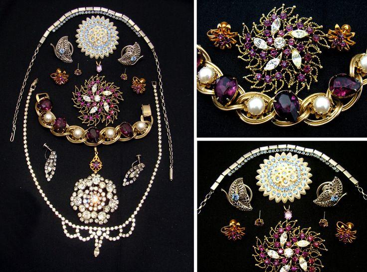 Old jewelry lot-beautiful rhinestone jewelry lot-estate vintage jewelry lot-rhinestone necklace-rhinestone purple bracelet-rhinestone pin by BECKSRELICS on Etsy