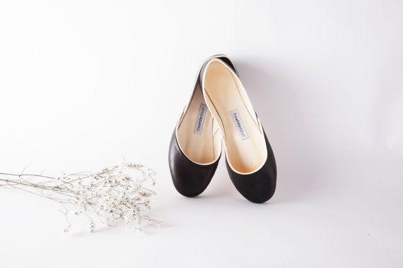 La Audrey di ballerine in nero |Nero pelle Ballerine | Pattini di balletto stile Audrey | Scarpe minimalista in nero