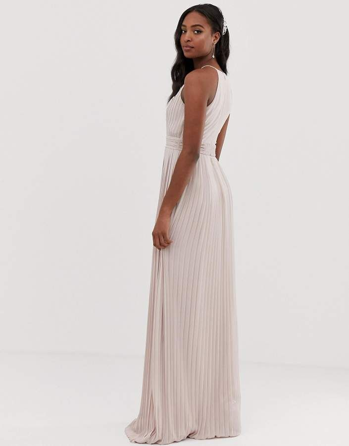 0484a864aed2 TFNC Tall Tall bridesmaid exclusive high neck pleated maxi dress in taupe   exclusive high bridesmaid