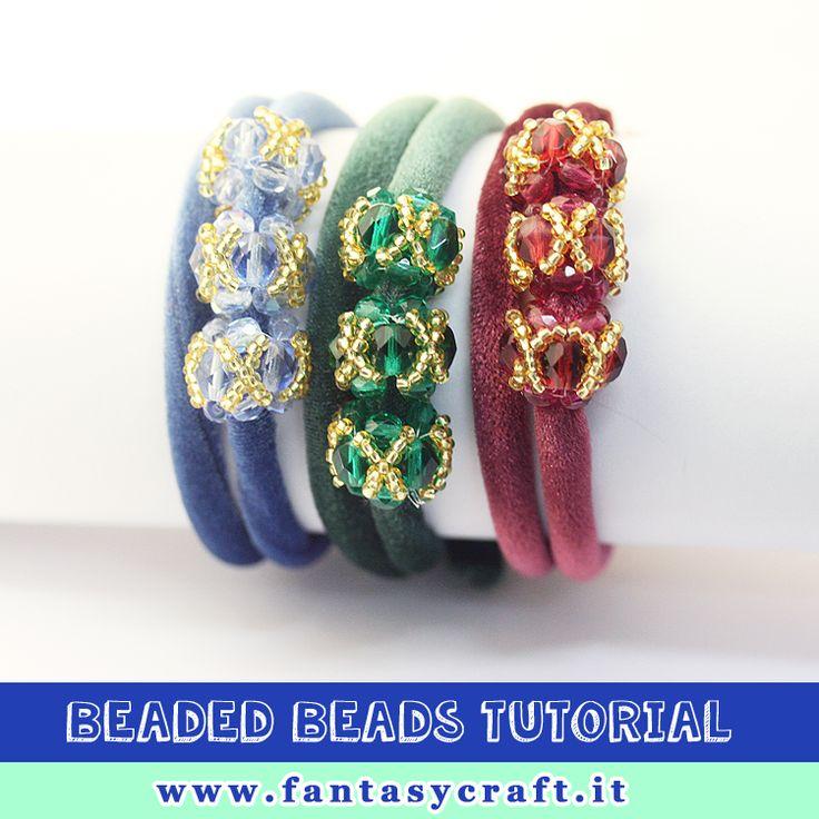 beaded beads tutorial, step by step picture and beading instruction - Foto e testi passo passo per un bracciale con elementi di perline, mezzo cresitallo #fantasycraft