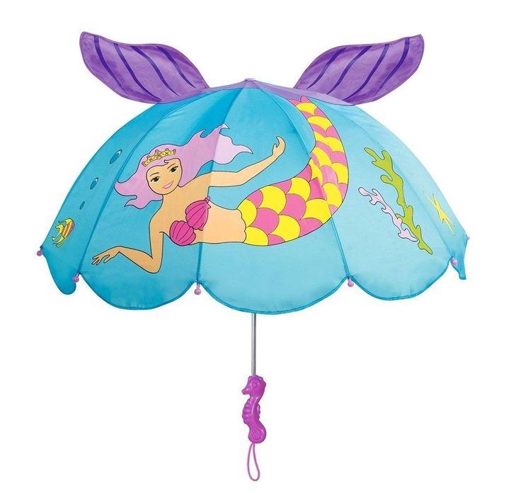 Girls Designer Mermaid Umbrella, Rainy Day Gifts Licensed Kidorable Merchandise