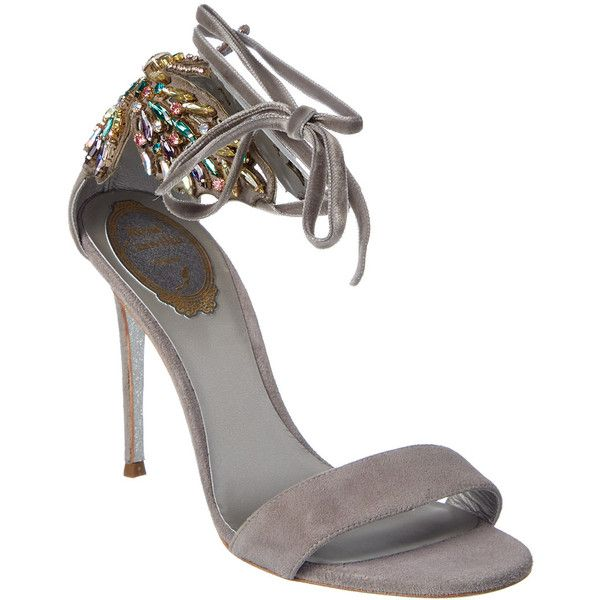 Rene Caovilla 105 Butterfly Embellished Suede Ankle Tie Sandal ($550) ❤ liked on Polyvore featuring shoes, sandals, nocolor, multi coloured sandals, multi color high heel sandals, ankle wrap sandals, multi colored sandals and gray sandals