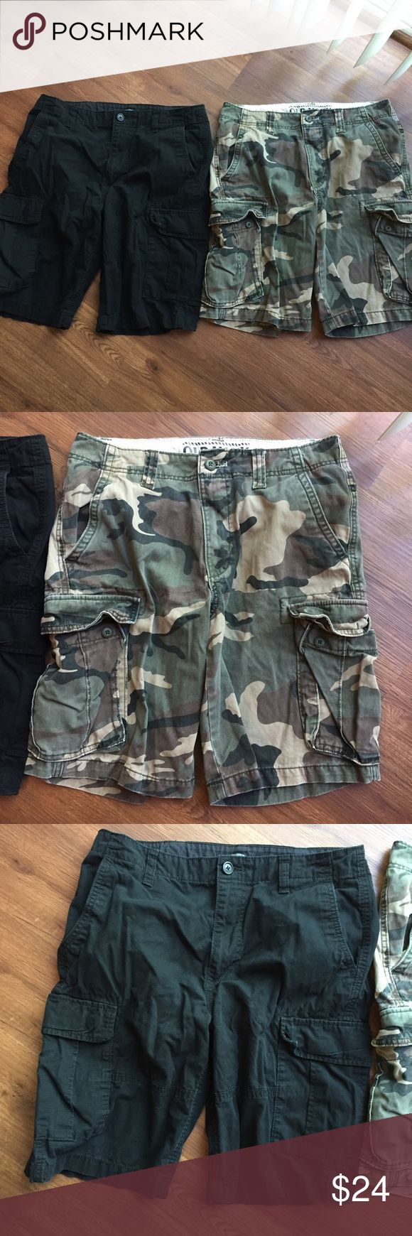 Men's Shorts! Size 31 • Old Navy • This is a bundle of two pair of Cargo Shorts. A black pair and a camouflage pair. Old Navy, Excellent Condition, Smoke Free Home, and Fast Shipping! Enjoy 25% if you bundle another listing with this one. Old Navy Shorts Cargo