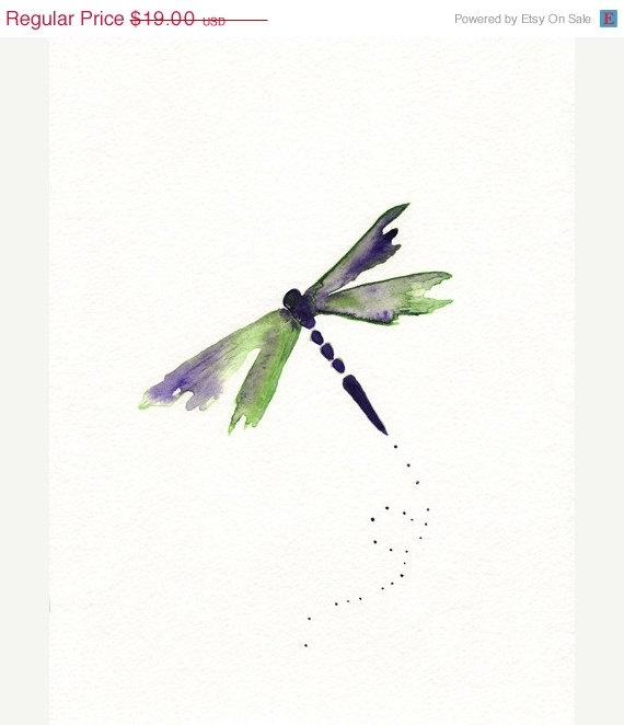 ON SALE Beauty Fly/Dragon Fly/Purple Green by kellybermudez, $17.10