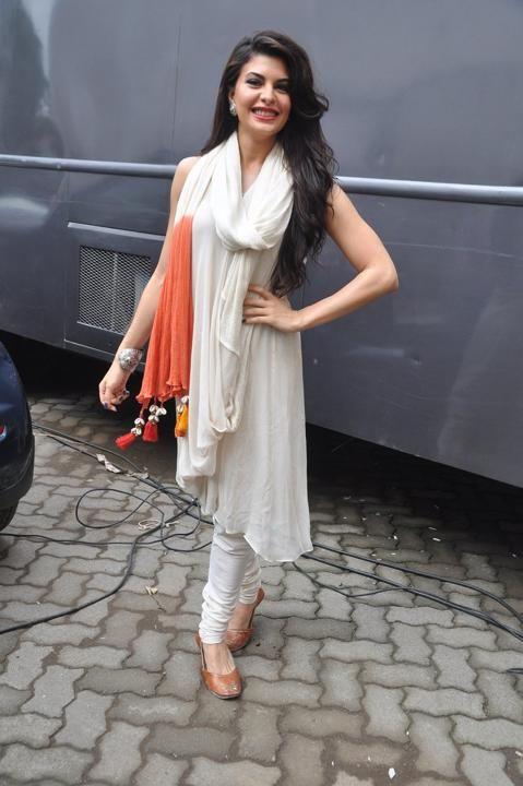 Kick Actress Jacqueline Fernandez in Plain White Anarkali Suit