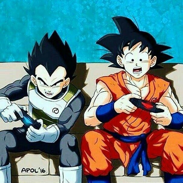 anime character playing video games goku and vegata play a video game^^ | anime dragon ball