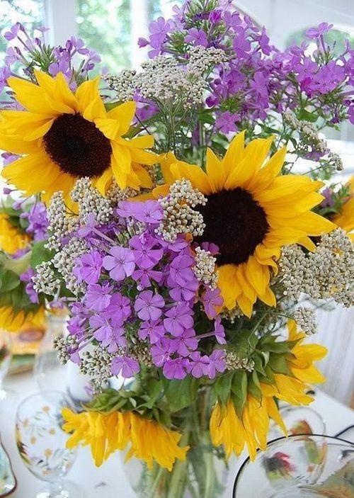 Love purple and yellow Flower arrangements Beautiful