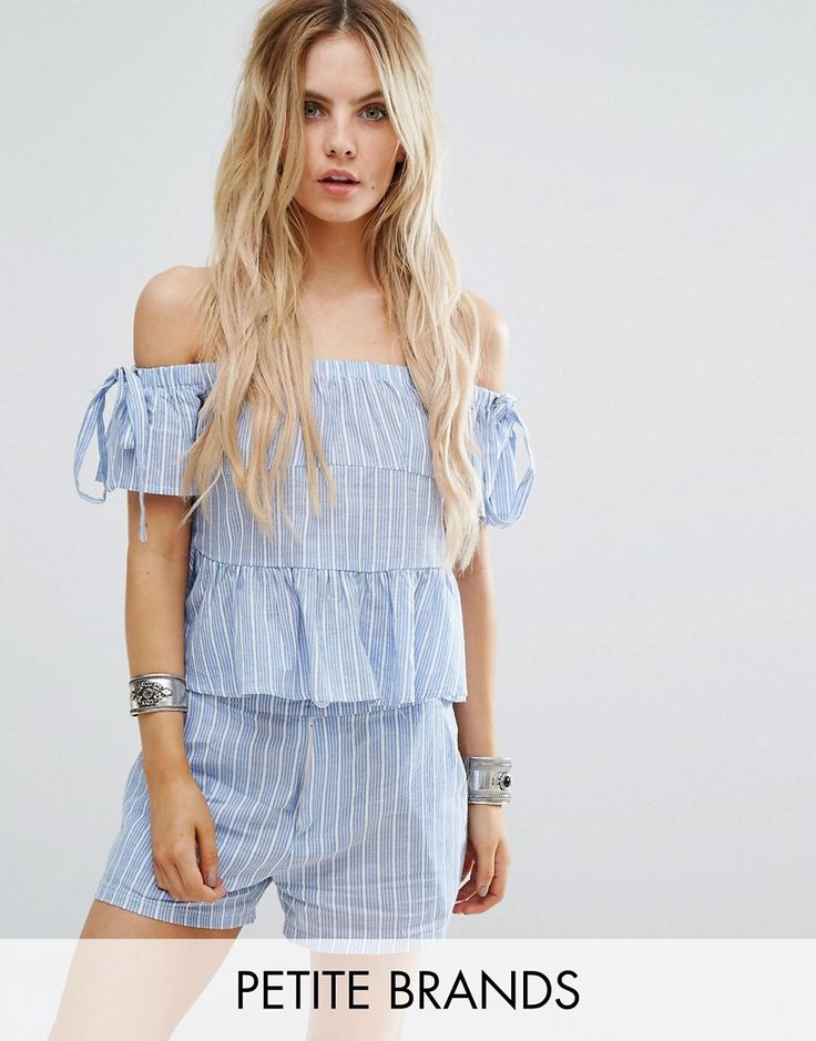 Buy it now. Missguided Petite Stripe Bardot Top - Blue. Petite top by Missguided Petite, Woven cotton, Bandeau neckline, Stretch inserts, Regular fit - true to size, Machine wash, 100% Cotton, Our model wears a UK 8/EU 36/US 4. ABOUT MISSGUIDED PETITE With an eye on the catwalks and hottest gals around, Missguided's in-house team design for the dreamers, believers and night lovers. Taking the risks no one else dares to, its perfectly proportioned playsuits, denim and bodies are your petite…