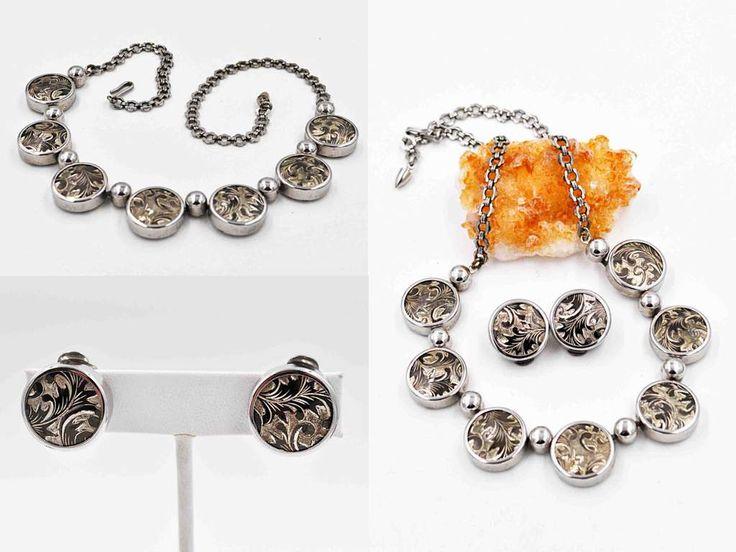 Vintage Volute Silver & Gold Jewelry Set, Leaf, Necklace, Clip Earrings, Damascene Style, Enamel, Fancy Chain, Demi, So Nice! #c381