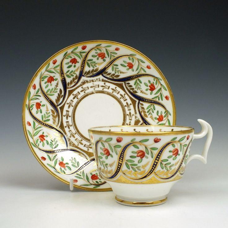 Beth-Swansea Porcelain Teacup & Saucer c1815