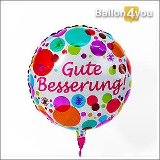 """Gute Besserung! - Rundballon bunt     Dieser Ballon verleiht den nötigen """"Auftrieb"""", welchen die beschenkte Person benötigt, um schnell wieder fit zu werden. Bunte Farben untermalen dabei den Gute Besserung-Gruss. Der baldigen Genesung, steht dabei nichts mehr im Weg."""