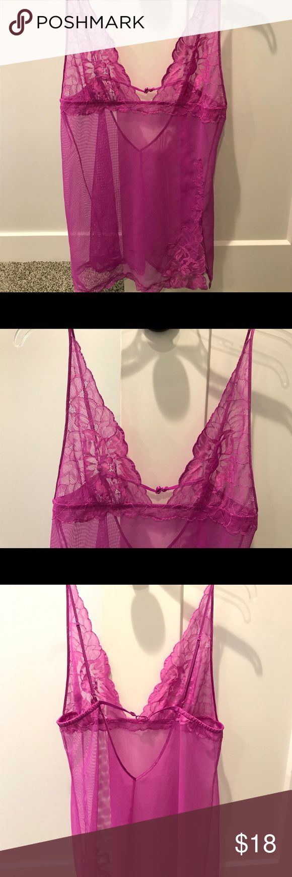 Victoria's Secret Medium Purple Lace Lingerie Victoria's Secret size Medium or small -Purple Lace Lingerie adjustable band/hook. Worn once and never touched it again. It was the same style of another one that was too small.  Smoke and pet free home Victoria's Secret Intimates & Sleepwear Chemises & Slips