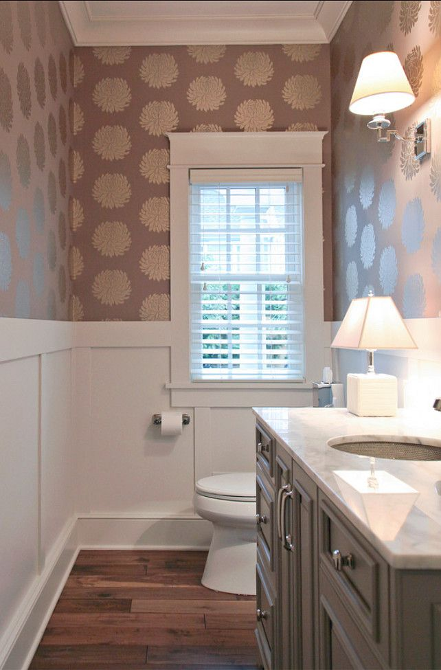 Powder room great powder room ideas powderroom for Gray bathroom wallpaper