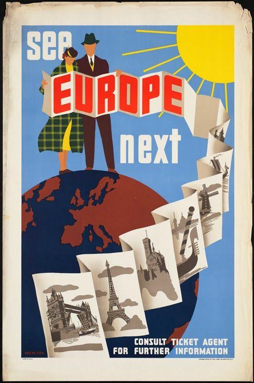 classic posters, free download, free printable, graphic design, printables, retro prints, travel, travel posters, vintage, vintage posters, vintage printables, See Europe Next - Vintage European Travel Poster