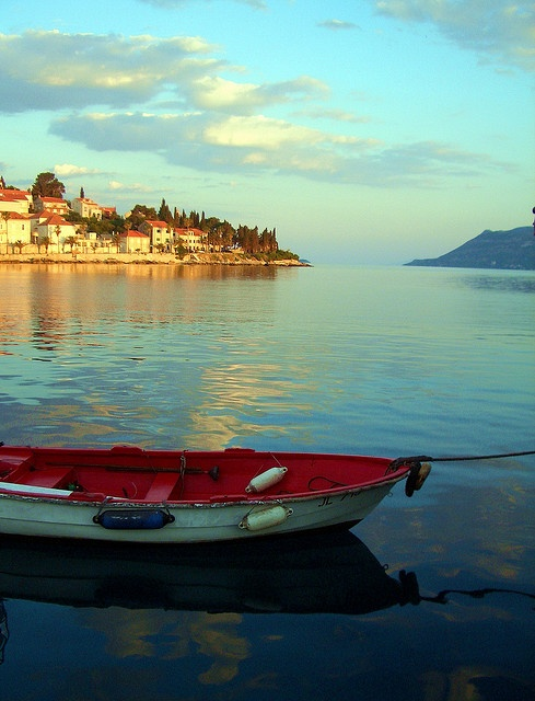 Waterfront  with Red  Boat, Korcula, Croatia