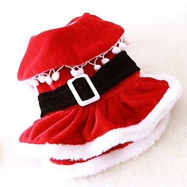 Gatti Cani Costumi Vestiti Abbigliamento per cani Inverno Primavera/Autunno Tinta unita Divertente Cosplay Natale Rosso del 5328046 2017 a €16.99
