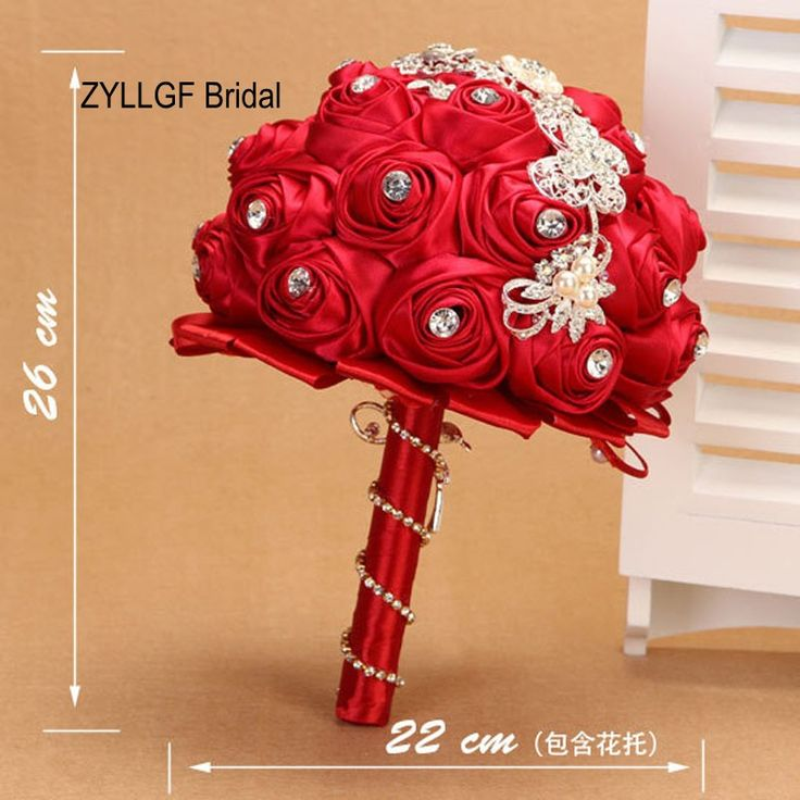 ZYLLGF Bridal Satin Fabric Flower Bouquets Rhinestone Wedding Bouquet Bouquet Fleurs Artificielles Mariage With Beadings WF11