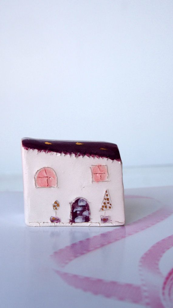 Little Ceramic House with Golden details, Little Clay House, Cute Small House, White House,Tiny House,Miniature House,Terrarium House