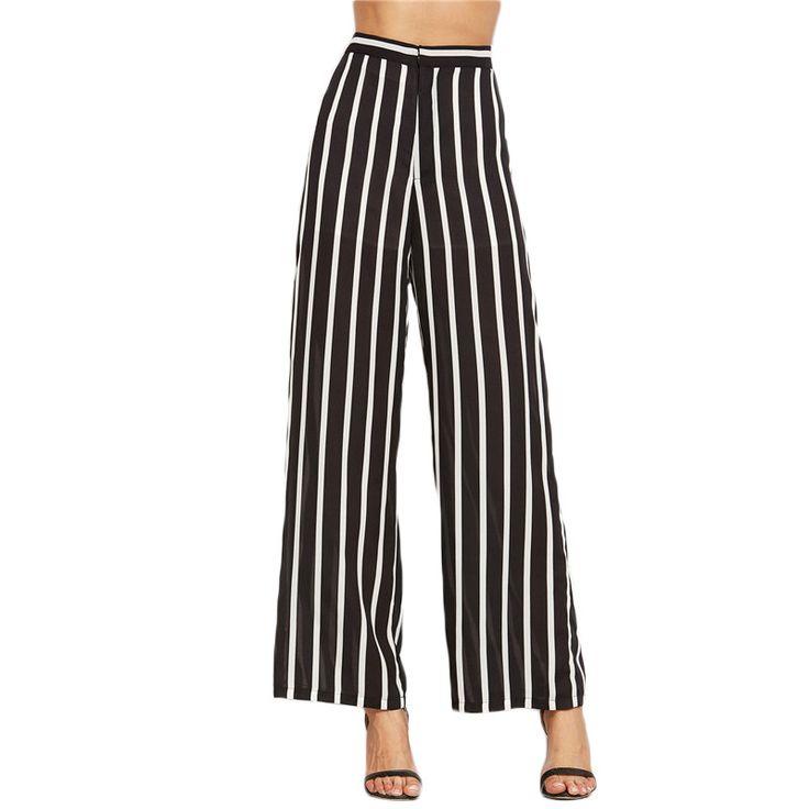 Black Vertical Striped High Waist Wide Leg Pants