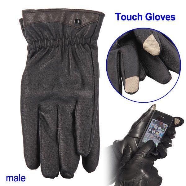 Smarttelefon Touch Lær Hansker (Mannlig Størrelse)