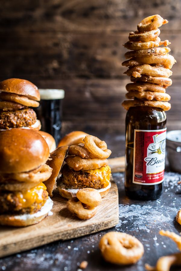 Kickin' Cajun Chicken Sliders with Beer Battered Onion Rings. Game day food doesn't get much better than this! Find the recipe & more @ halfbakedharvest.com