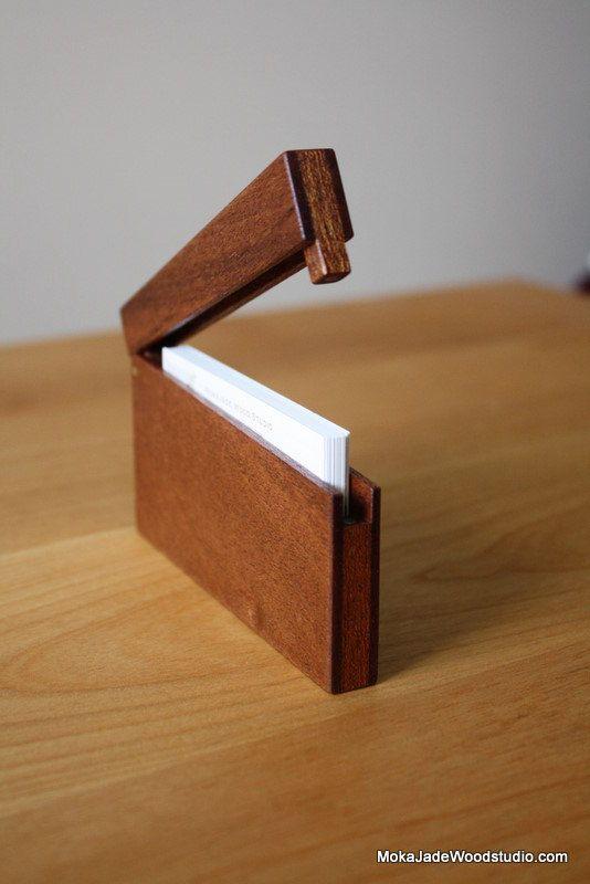 Slim business card holder Mahogany