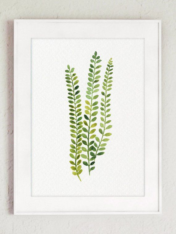 Fern Plant Art Print Botanical Living Room Wall Decor, Green Kitchen Illustration Chart set 6 Leaf Watercolour Painting Abstract Home Garden – Maham Ali