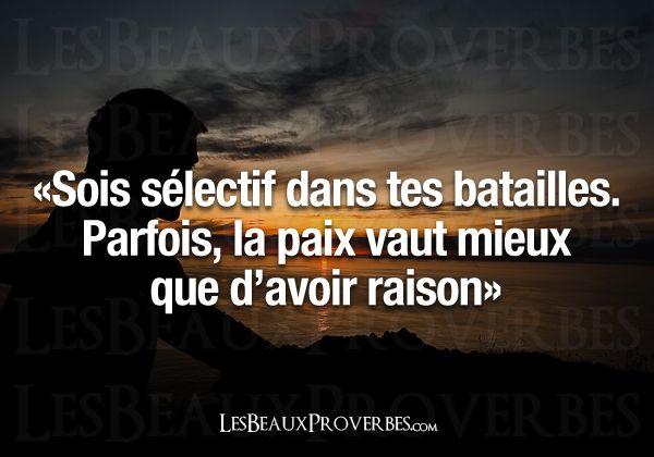 """""""Be selective in your battles. Sometimes peace is better than being right """" - «Sois sélectif dans tes batailles.Parfois, la paix vaut mieuxque d'avoir raison»"""