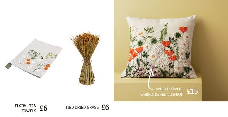 Floral tea towels, embroidered cushions and tied dried grass