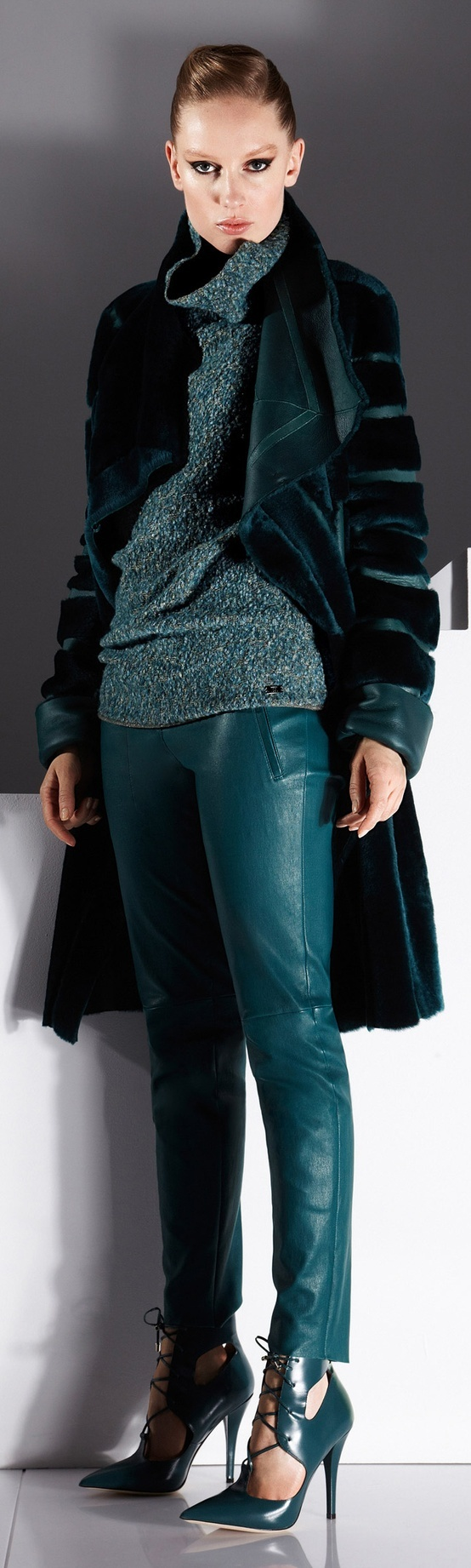 Teal green Escada coat, sweater, pants, stilettos