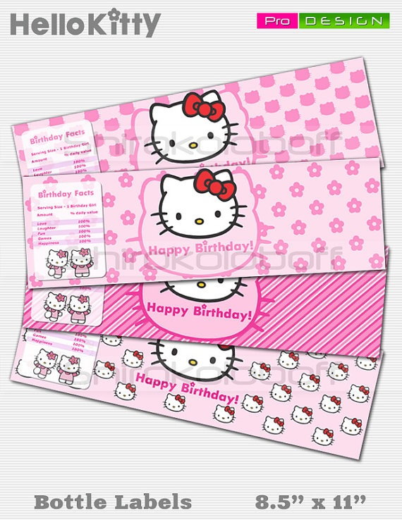 Hello Kitty Custom Water Bottle Labels Printable By
