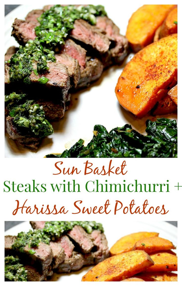 The Steak with Chimichurri and Harissa-Roasted Sweet Potatoes Recipe from Sun Basket was my favorite of the three meals I received this week!  Harissa is my new favorite spice!  Sun Basket is my favorite meal delivery subscription box so far!  I love the organic ingredients and unique recipes.  They offer paleo, gluten free, and vegetarian options as well!