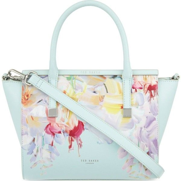TED BAKER Honora Hanging Gardens leather shoulder bag (€255) ❤ liked on Polyvore featuring bags, handbags, shoulder bags, mint, floral shoulder bag, white purse, leather handbags, genuine leather shoulder bag and white handbags
